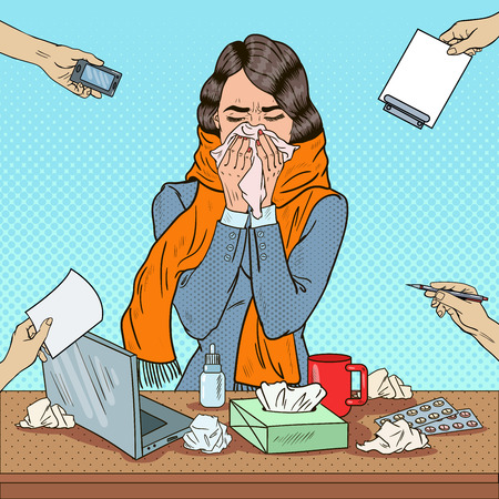 Pop Art Business Woman Sneezing at Multi Tasking Office Work. Vector illustration