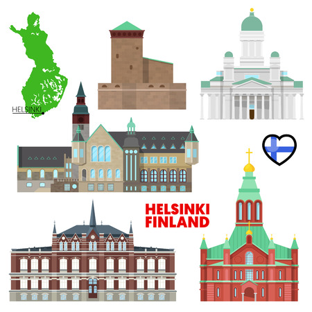 Helsinki Travel Set with Architecture. Visit Finland. Vector illustration