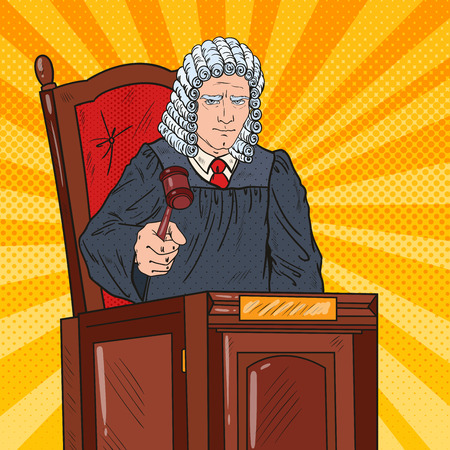 Pop Art Senior Judge in Courtroom Striking the Gavel. Law and Justice. Vector illustration