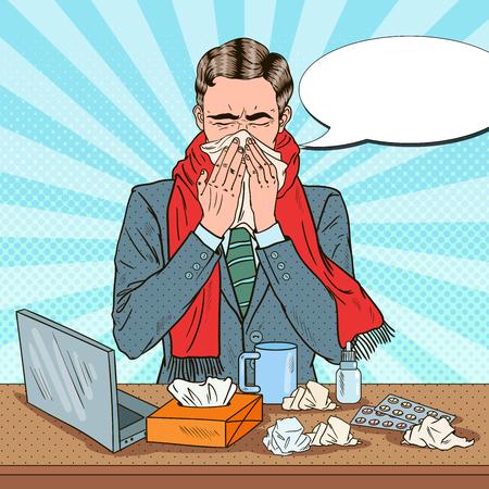 Pop Art Businessman Sneezing at Office Work. Man with Flu. Vector illustration Illustration