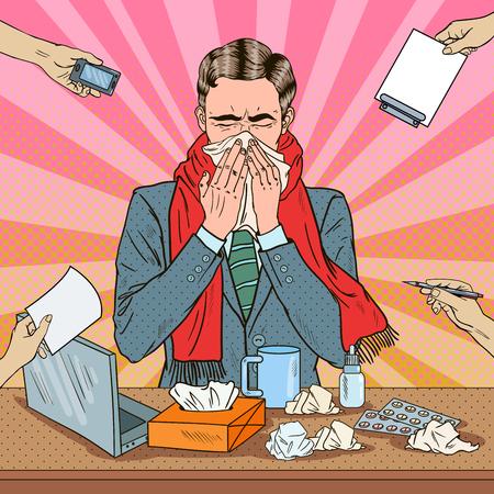 Pop Art Businessman Sneezing at Multi Tasking Office Work. Man with Flu. Vector illustration Illustration