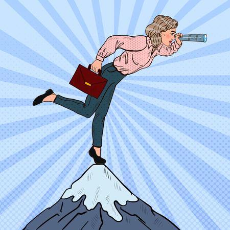 Femme d'affaires réussie de Pop Art avec un télescope au sommet de la montagne. Vision d'entreprise. Illustration vectorielle Banque d'images - 74886289