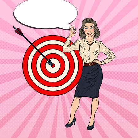 Pop Art Successful Business Woman Achieved the Target. Vector illustration