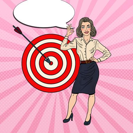 Popart succesvolle zakenvrouw bereikt het doelwit. Vector illustratie