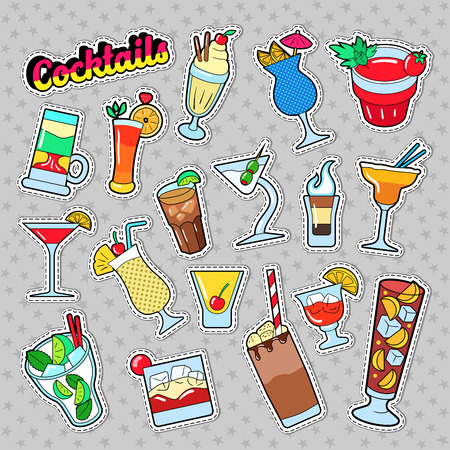 Cocktails and Drinks Set for Stickers, Badges and Patches. Vector illustration Çizim
