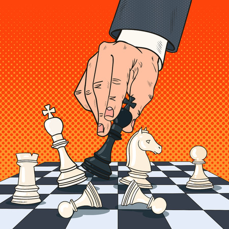 Pop Art Hand of Businessman Holding Chess Figure. Business Strategy Concept. Vector illustration