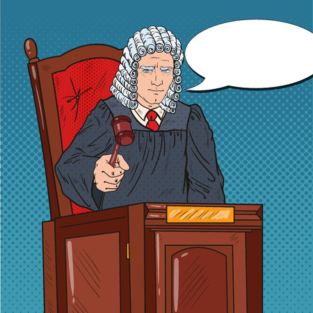 Pop Art Senior Judge in Courthouse Striking the Gavel. Law and Legal System.