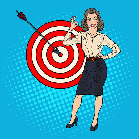 Pop Art Successful Businesswoman Achieved the Target. Business Success. Vector illustration