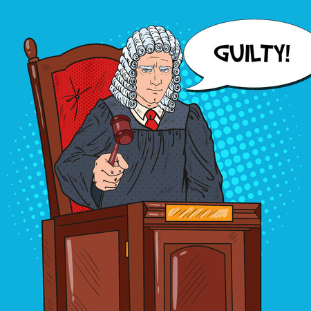 Pop Art Senior Judge in Courthouse Striking the Gavel. Law and Judical System. Vector illustration Illustration