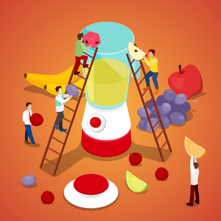 weight machine: Miniature People Making Fresh Juice. Healthy Eating. Vector flat 3d isometric illustration
