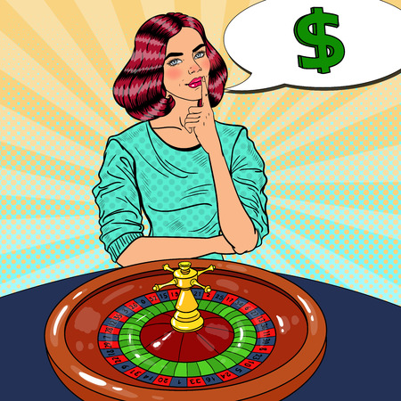 Beautiful Woman Behind Roulette Table Dreaming about Big Win. Casino Gambling. Pop Art Vector retro illustration