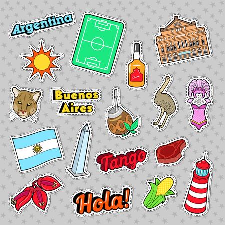 Argentina Elements Viagem com Arquitetura e Futebol. Vector Doodle Foto de archivo - 74954764