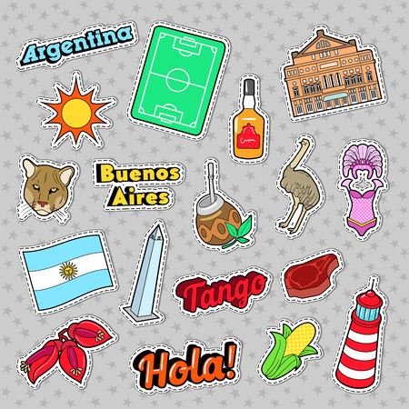 Argentina Travel Elements with Architecture and Football. Vector Doodle