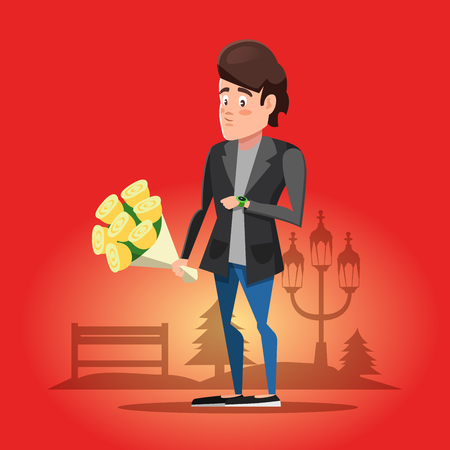 bench alone: Young Guy Waiting for his Girlfriend with Flowers. Vector cartoon illustration