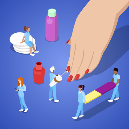 Miniature People Making Manicure. Woman Hand Applying Nail Polish. Vector flat 3d isometric illustration