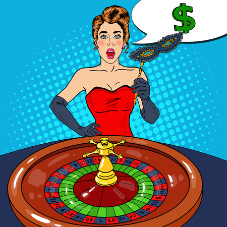Surprised Woman Behind Roulette Table. Casino Gambling. Pop Art Vector retro illustration