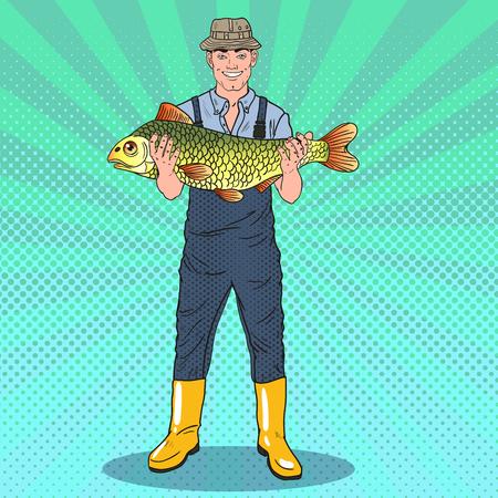 Pop Art Happy Fisherman Holding Big Fish. Good Catch. Vector illustration