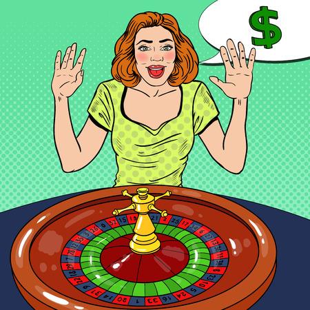 Happy Woman Behind Roulette Table Celebrating Big Win. Casino Gambling. Pop Art Vector retro illustration