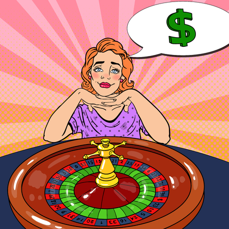 Woman Behind Roulette Table Dreaming About Big Win. Casino Gambling. Pop Art Vector retro illustration Illustration