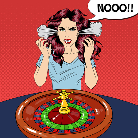 Hysteric Woman Behind Roulette Table. Casino Gambling. Pop Art Vector retro illustration Imagens - 123178589