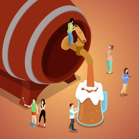 Miniature People Pouring Beer from Wooden Barrel. Vector flat 3d isometric illustration