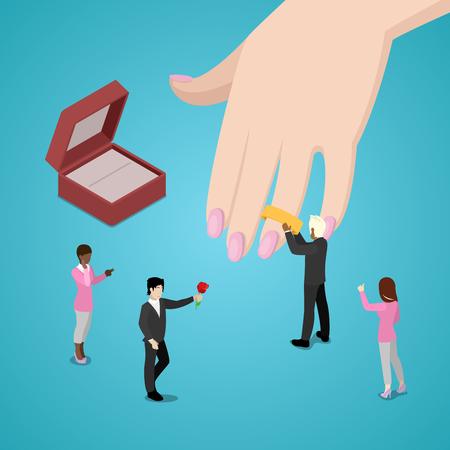 Miniature People Putting Wedding Ring on Brides Hand. Vector flat 3d isometric illustration 版權商用圖片