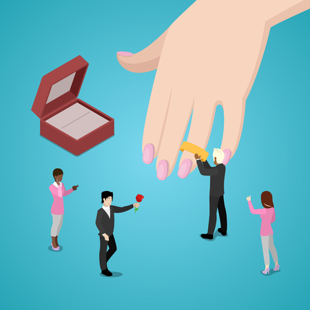 Miniature People Putting Wedding Ring on Brides Hand. Vector flat 3d isometric illustration Stock Photo