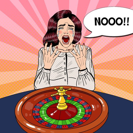 misfit: Crying Woman Behind Roulette Table. Casino Gambling. Pop Art Vector retro illustration
