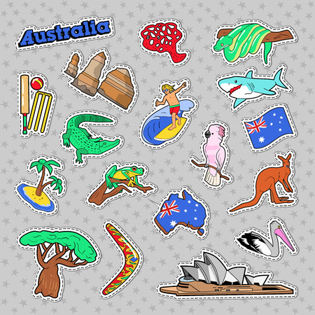 Australia Travel Elements with Architecture and Animals. Vector Doodle Stock Photo - 75012448