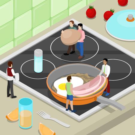 Miniature personnes cuisine petit déjeuner sur la cuisine. Vector isométrique 3d illustration isométrique Banque d'images - 74989471