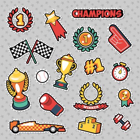 Insignias de la manera, remiendos, etiquetas engomadas en estilo cómico Campeones Tema con tazas Foto de archivo - 75097577