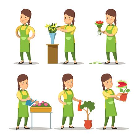 女性花屋漫画セット。女性園芸花。ベクトル文字図