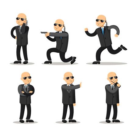 gun control: Cartoon Professional Safeguard Man. Security Guard. Vector character illustration