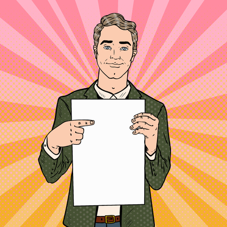 Young Businessman Pointing at Blank Paper Sheet. Business Presentation. Pop Art retro Vector illustration