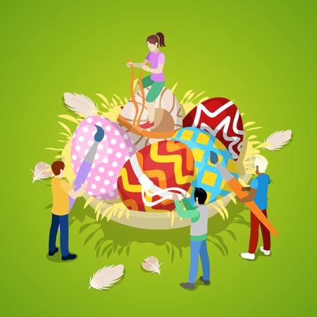 Miniature People Painting Traditional Easter Eggs. Isometric vector flat 3d illustration Illustration