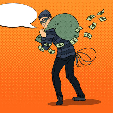 Thief in Black Mask with Money Bag. Pop Art retro vector illustration