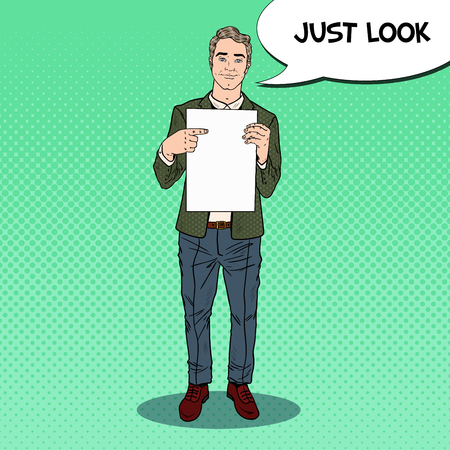 Pop Art Businessman Pointing at Blank Sheet. Business Presentation. Vector illustration