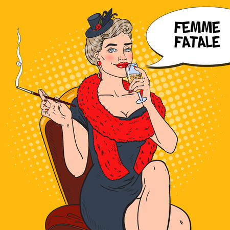 Pop Art Beautiful Woman in Fur with Glass of Champagne. Femme fatale.