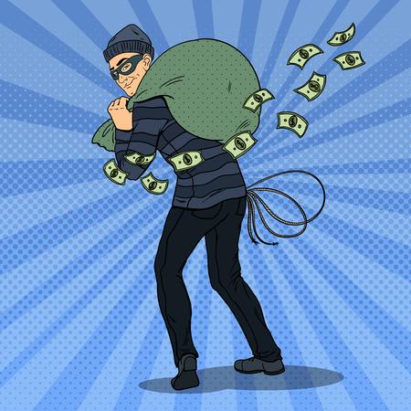 Thief in Black Mask Stealing Money. Pop Art retro vector illustration Illustration