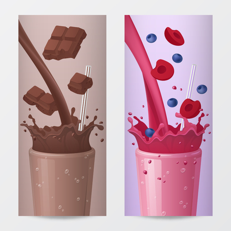 chocolate swirl: Sweet Drink Vertical Banners with Falling Chocolate and Fruits. Vector illustration