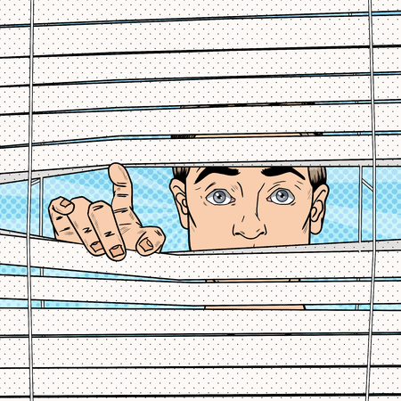 snooping: Surprised Man Looking Through the Blinds. Pop Art Vector retro illustration