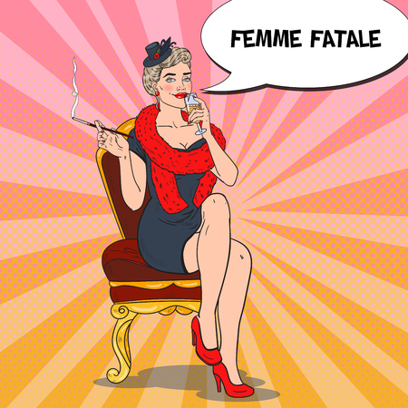 femme fatale: Beautiful Woman in Fur with Glass of Champagne. Femme fatale. Pop Art Retro vector illustration