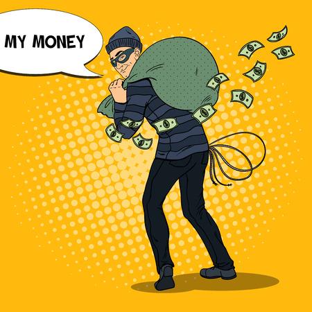 Criminal Bandit with Money Bag. Pop Art retro vector illustration Illustration