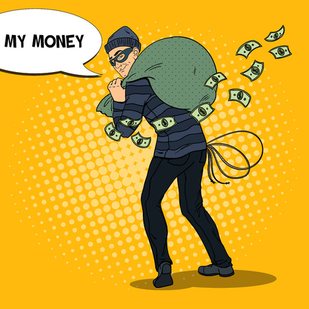 Criminal Bandit with Money Bag. Pop Art retro vector illustration Illustration