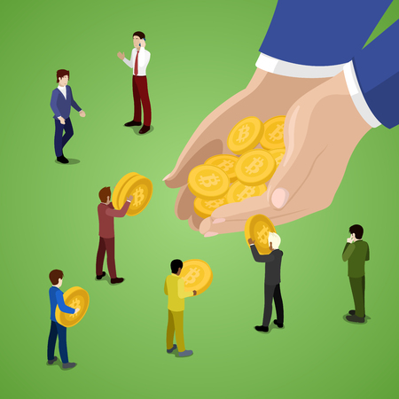 Miniature Business People with Bitcoins. Online Payment Method. Illustration