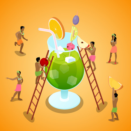 Miniature People Making Summer Cocktail with Fruits.