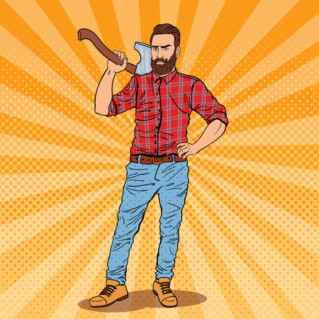 Lumberjack with Beard and Axe. Woodcutter Worker. Pop Art vintage illustration Stock Photo