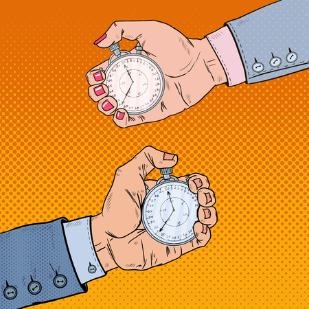 hands  hour: Male and Female Hands Holding Stopwatch. Time Management. Pop Art retro illustration