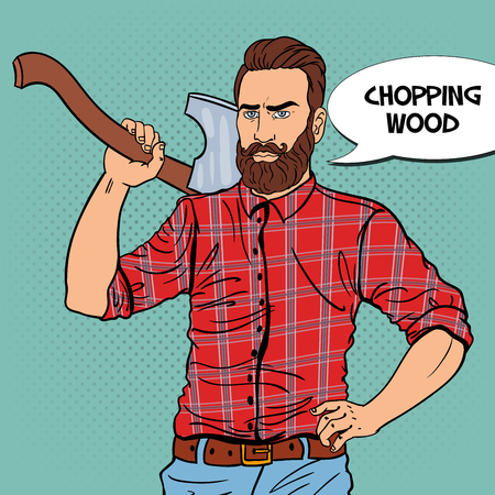 logging: Woodcutter with Beard and Axe. Lumberjack Worker. Pop Art vintage illustration Stock Photo