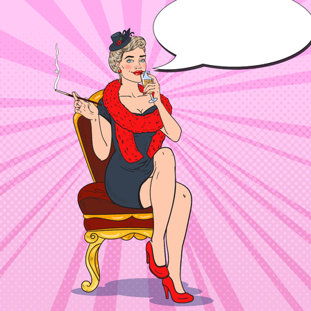 Beautiful Woman with Glass of Champagne. Femme fatale. Pop Art Retro illustration